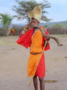 masai -warning horn to other villages